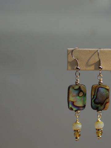 abalone earrings/03 white czech dangles