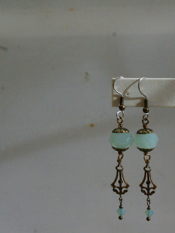 art deco earrings/05 chalcedony dangles