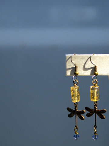 art deco earrings/01 amber dragonflies