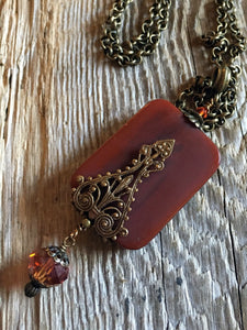 antique necklaces/04 gothic scroll on matte carnelian