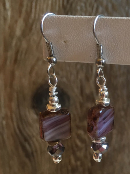 petite drop czech earrings/10 lavender