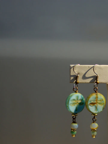 czech dragonfly earrings/04 sea green