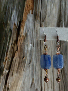 earthy & organic earrings/17 kyanite rectangular