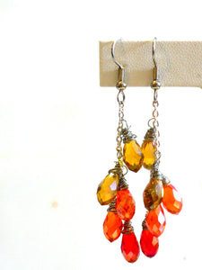 crystal water fall briolette earrings/01 fall mix