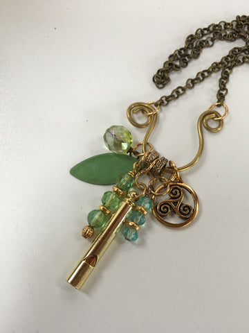 brass charm necklace/04 celtic triskale and whistle