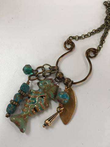 brass charm necklace/06 pottery bonefish and finnial