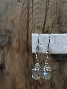 hand cut gemstone earrings/04 faceted teardrop labradorite