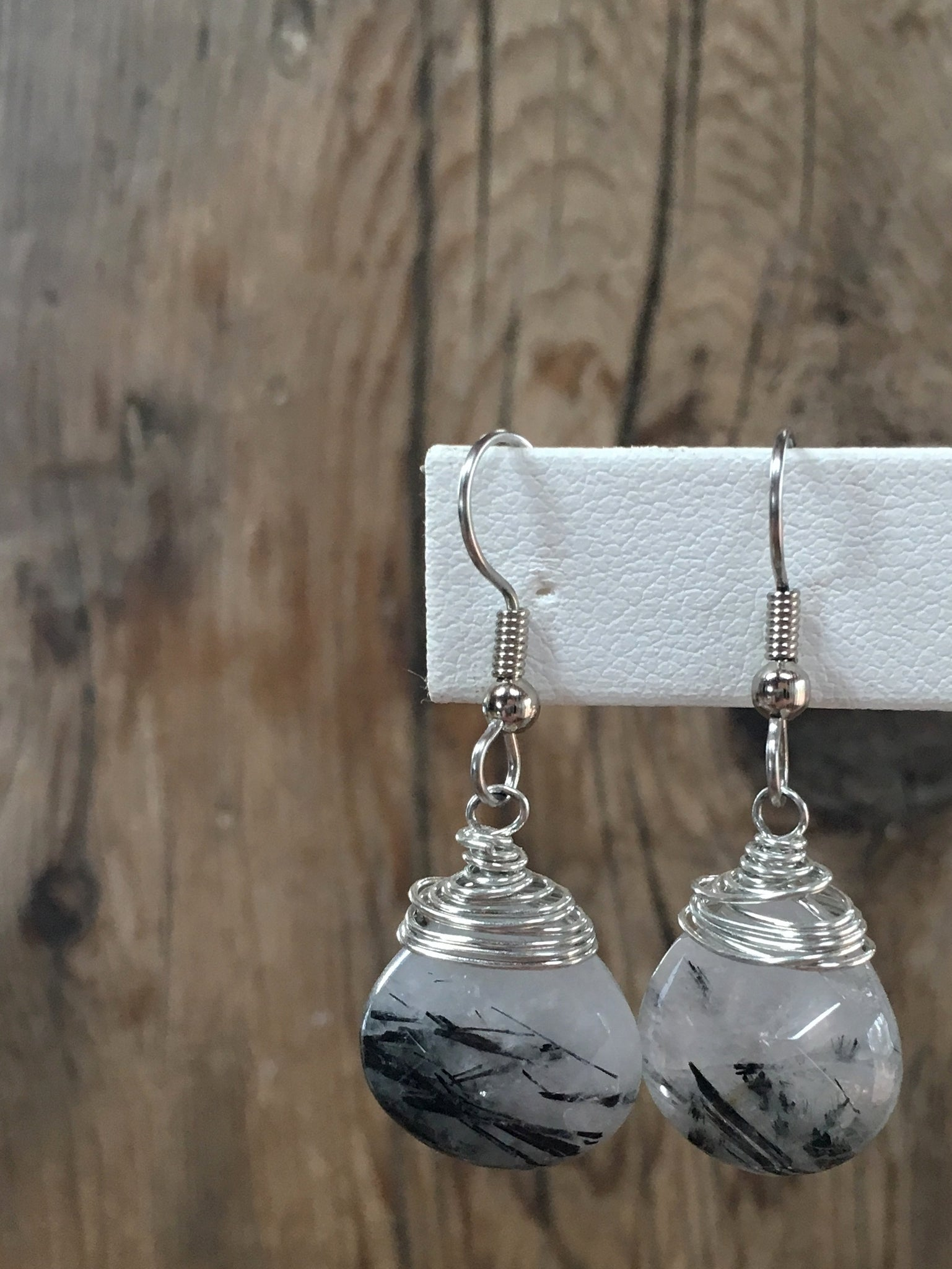 hand cut gemstone earrings/13 faceted rutlilated quartz flat pear