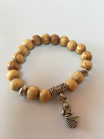 Blonde Pine Wood Charm Bracelet - Silver Mermaid