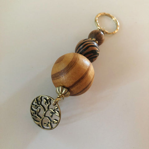 Charm Keychain/03 Coconut, Tiger Stripe and Pine Wood Beads with Tree of Life Charm
