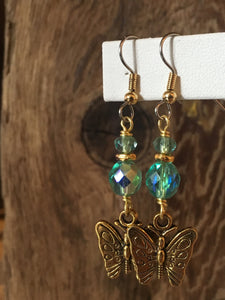 Brass Charm Earrings/02 Butterflies