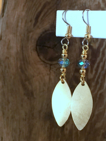 Brass Charm Earrings/01 Marquis Tag