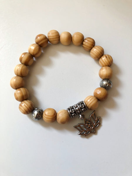 Blonde Pine Wood Charm Bracelet - Silver Lotus Flower