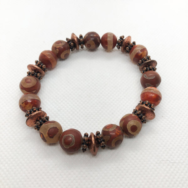 Matte Agate Bracelet - Spotted Giraffe Rust Agate with Engraved Copper Accent Beads and Spacers
