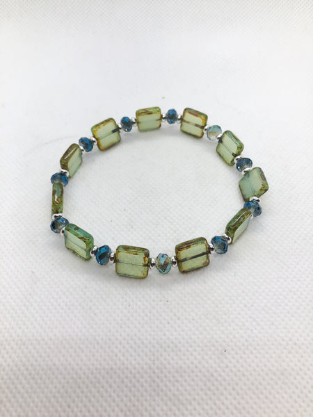 Modern Czech Glass Bracelet - Sea Green Czech Glass, Green Blue AB Austrian Crystal Rondelles and Silver Spacers