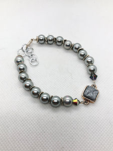 Drusy Quartz Tennis Bracelet - Silver Gray Pearls with a Black Drusy Gold Bezel Set Focal