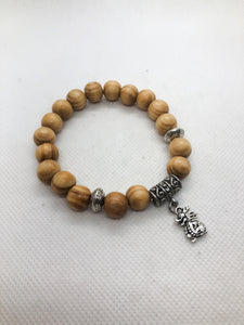Blonde Pine Wood Charm Bracelet - Lucky Chinese Dragon