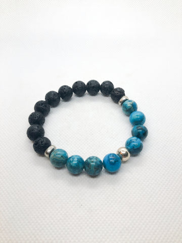 Essential Oil Gemstone Diffuser Bracelets - Blue Crazy Lace Agate and Lava with Silver Accents