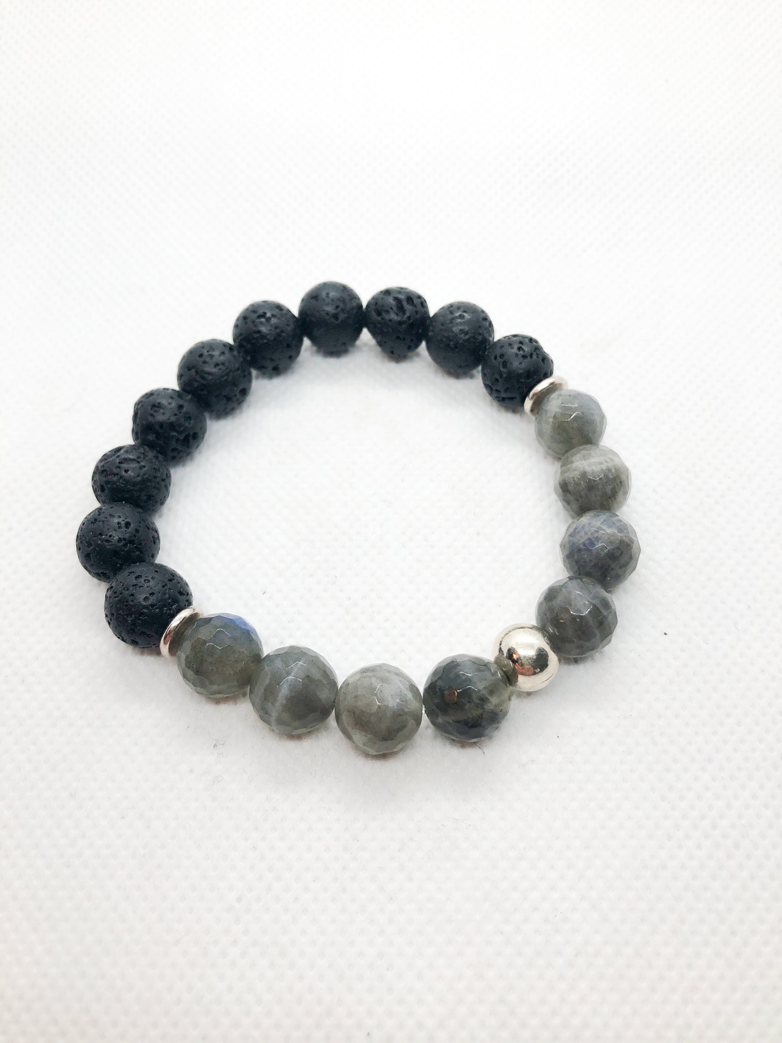 Essential Oil Gemstone Diffuser Bracelets - Blue Flash Labradorite and Lava with Silver Accents