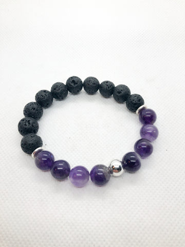 Essential Oil Gemstone Diffuser Bracelets - Amethyst and Lava with Silver Accents