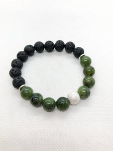 Essential Oil Gemstone Diffuser Bracelets - Antique Chinese Jade and Lava with Silver Accents