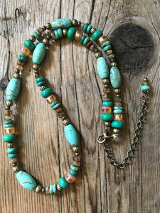 beaded turquoise necklace/01 turquoise tubes and chips