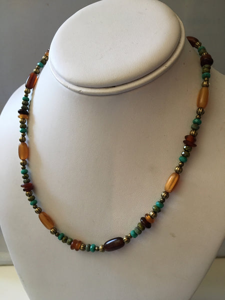 beaded turquoise necklace/02 amber horn and turquoise