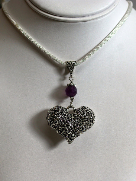 silver medallion necklace/03 baroque heart