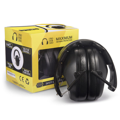 Pro For Sho 34dB Safety Ear Protection - Special Designed Ear Muffs Lighter Weight & Maximum Hearing Protection , Standard Size Black