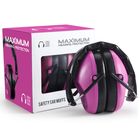 Pro For Sho 34dB Shooting Ear Protection - Special Designed Ear Muffs Lighter Weight & Maximum Hearing Protection , Standard Size Pink