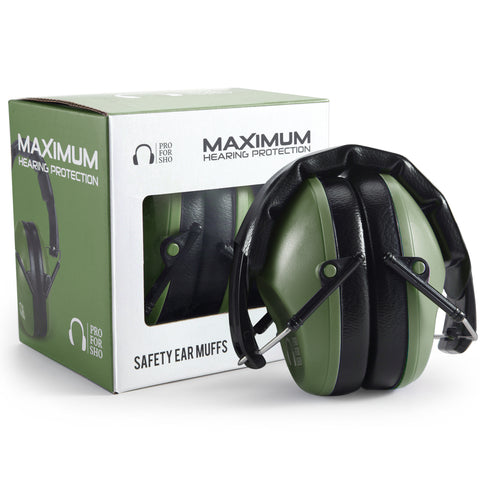 Pro For Sho 34dB Shooting Ear Protection - Special Designed Ear Muffs Lighter Weight - Maximum Hearing Protection , Standard Size Army Green