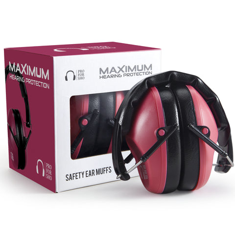 Pro For Sho 34dB Shooting Ear Protection - Special Designed Ear Muffs Lighter Weight - Maximum Hearing Protection , Poppy Red