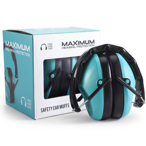 Pro For Sho 34dB Shooting Ear Protection - Special Designed Ear Muffs Lighter Weight - Maximum Hearing Protection , Standard Size Teal