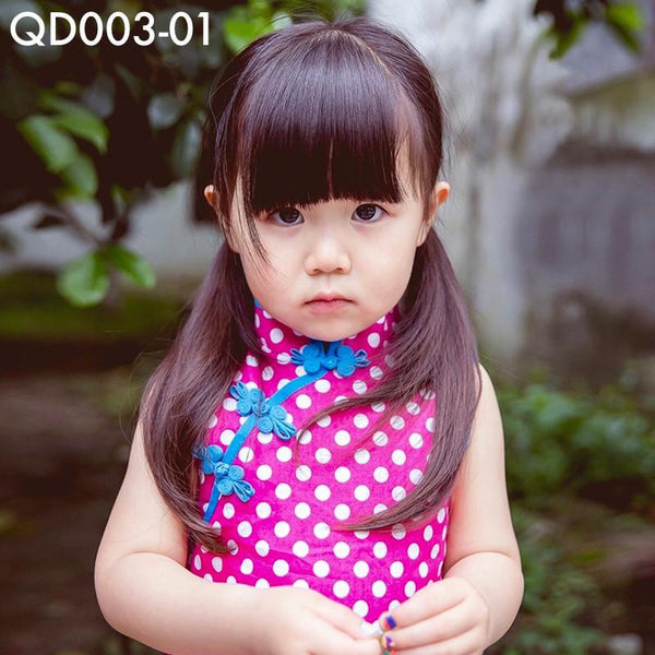 Cheongsam, QD003 - Pinky Polka Dots Cheongsam Dress - The Baby Zebra