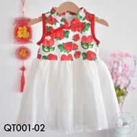 Cheongsam, QT001-02 - Berry Love Cheongsam Tutu Dress - The Baby Zebra
