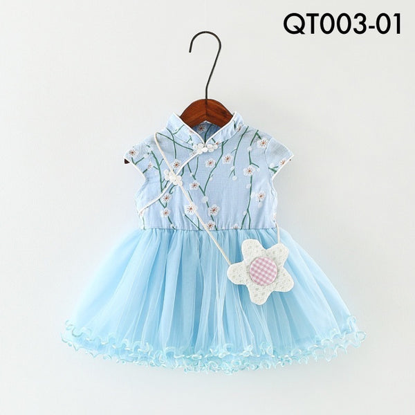 Cheongsam, QT003 - Mini Cherry Blossom Cheongsam Tutu Dress - The Baby Zebra