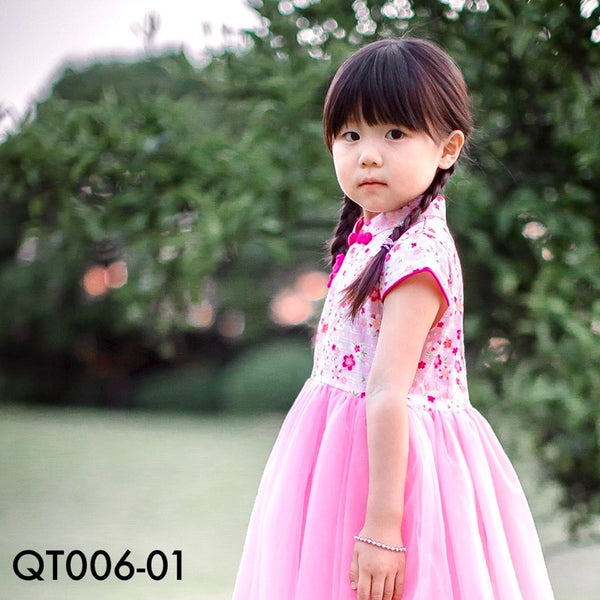 Cheongsam, QT006 - Pinky Cherry Blossom Cheongsam Tutu Dress - The Baby Zebra