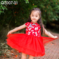 Cheongsam, QT007 - White Cherry Blossom Cheongsam Tutu Dress - The Baby Zebra