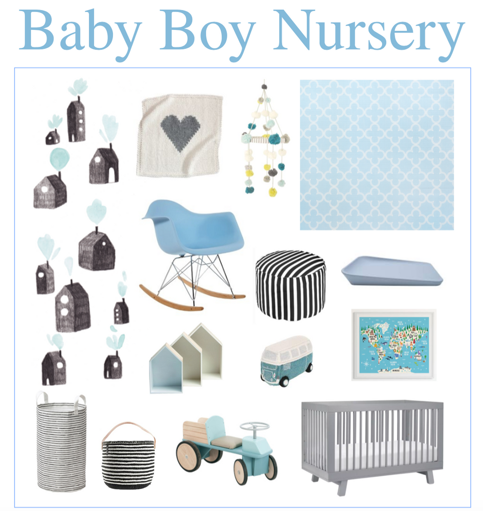 Baby Boy Nursery Moodboard with non-toxic Clover Pieces Play Mat