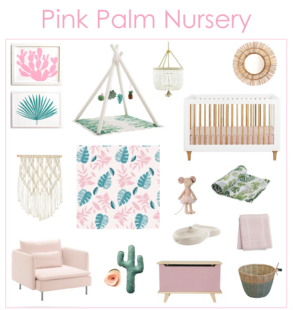 Pink Palm Nursery Mood Board