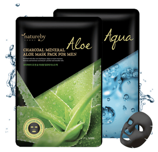 MASK38 Mask sheet [natureby] Charcoal Mineral Aqua & Aloe Mask For MEN (50 PCS)