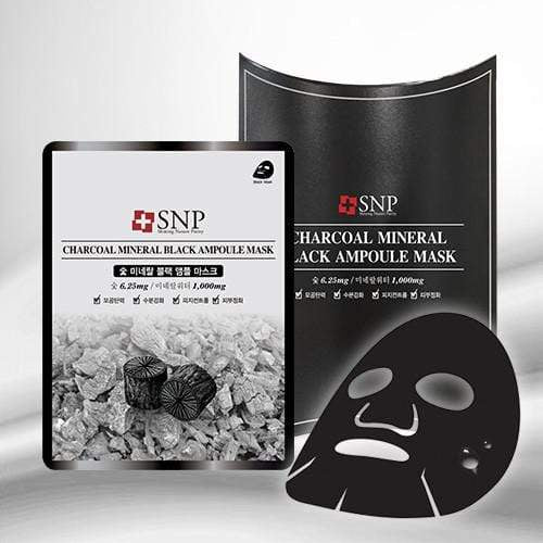 SNP Mask sheet [SNP] CHARCOAL MINERAL BLACK Ampoule Mask (1BOX-10PCS)