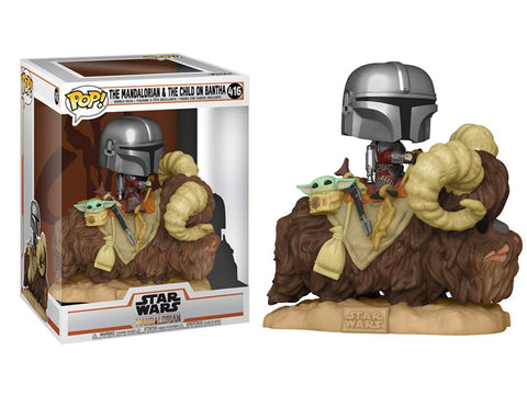 POP Deluxe Star Wars: Mandalorian - Mandalorian and Child on Bantha