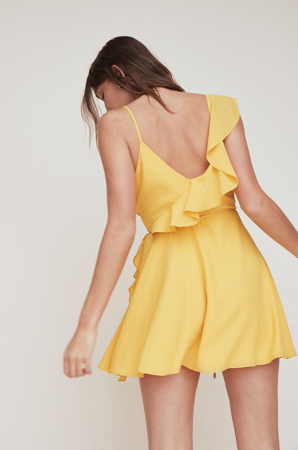 Asymmetrical Ruffle Wrap Dress