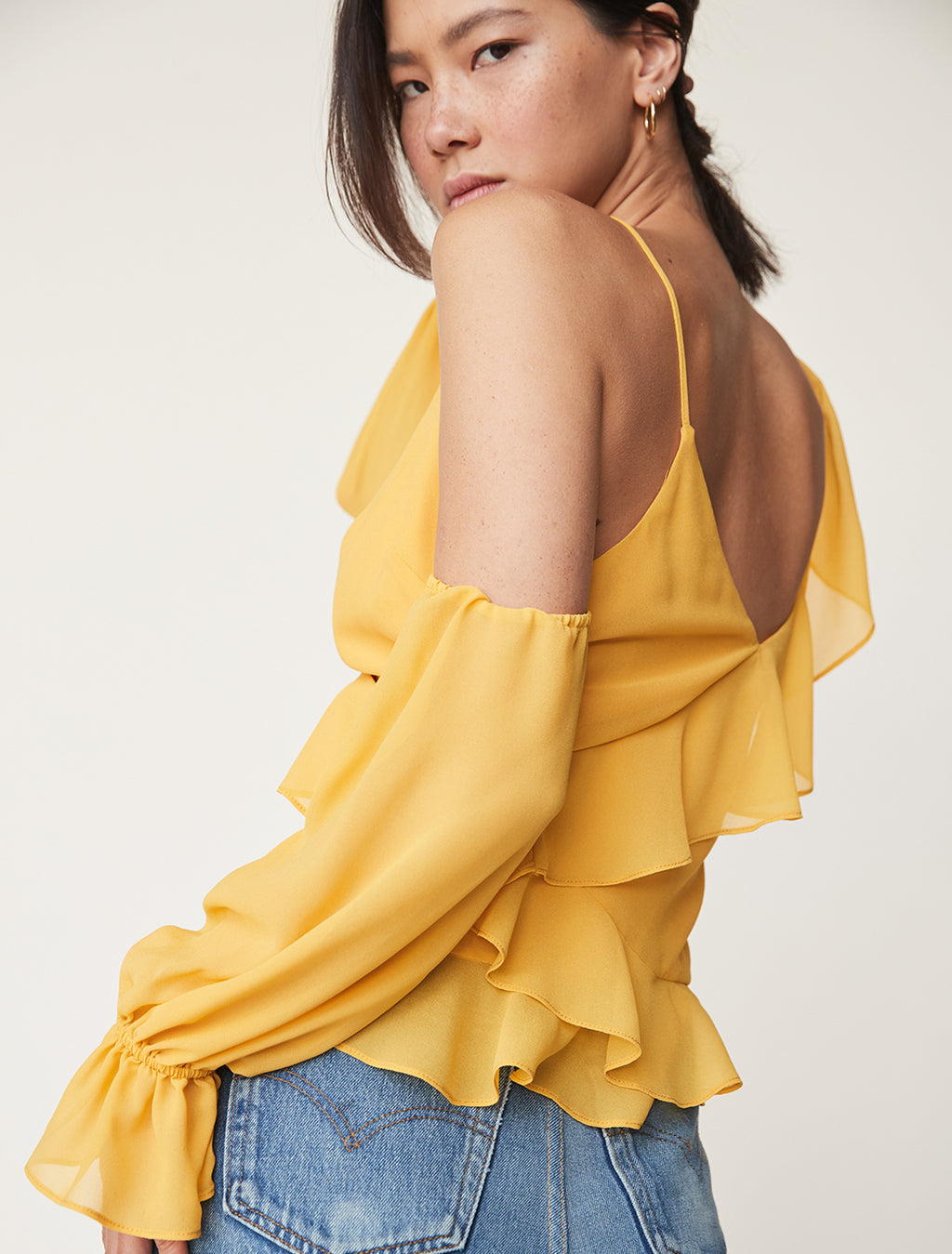 Asymmetrical Ruffle Wrap Top