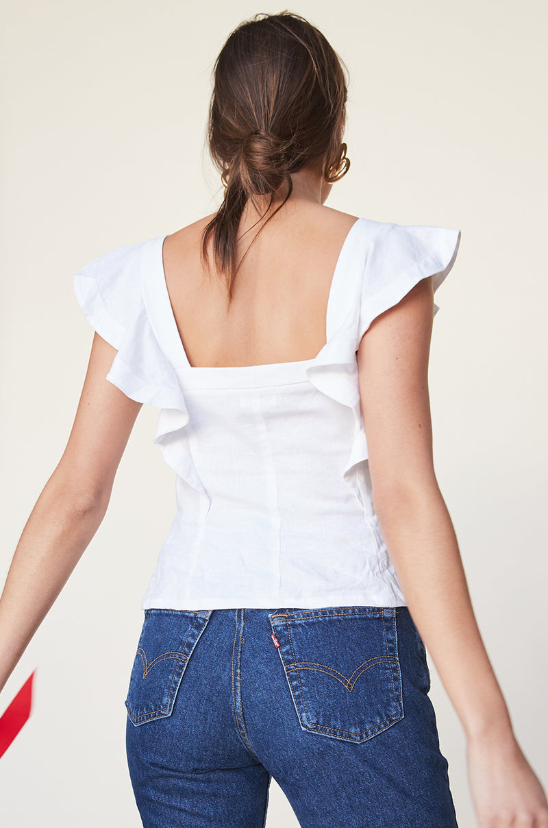 Button Up Ruffle Tank