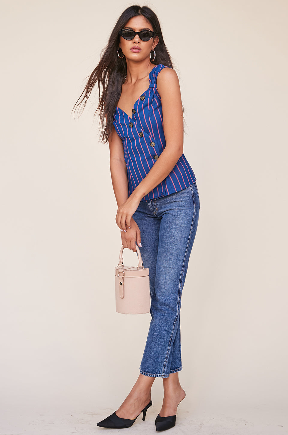 Button Up Top With Pinched Shoulder