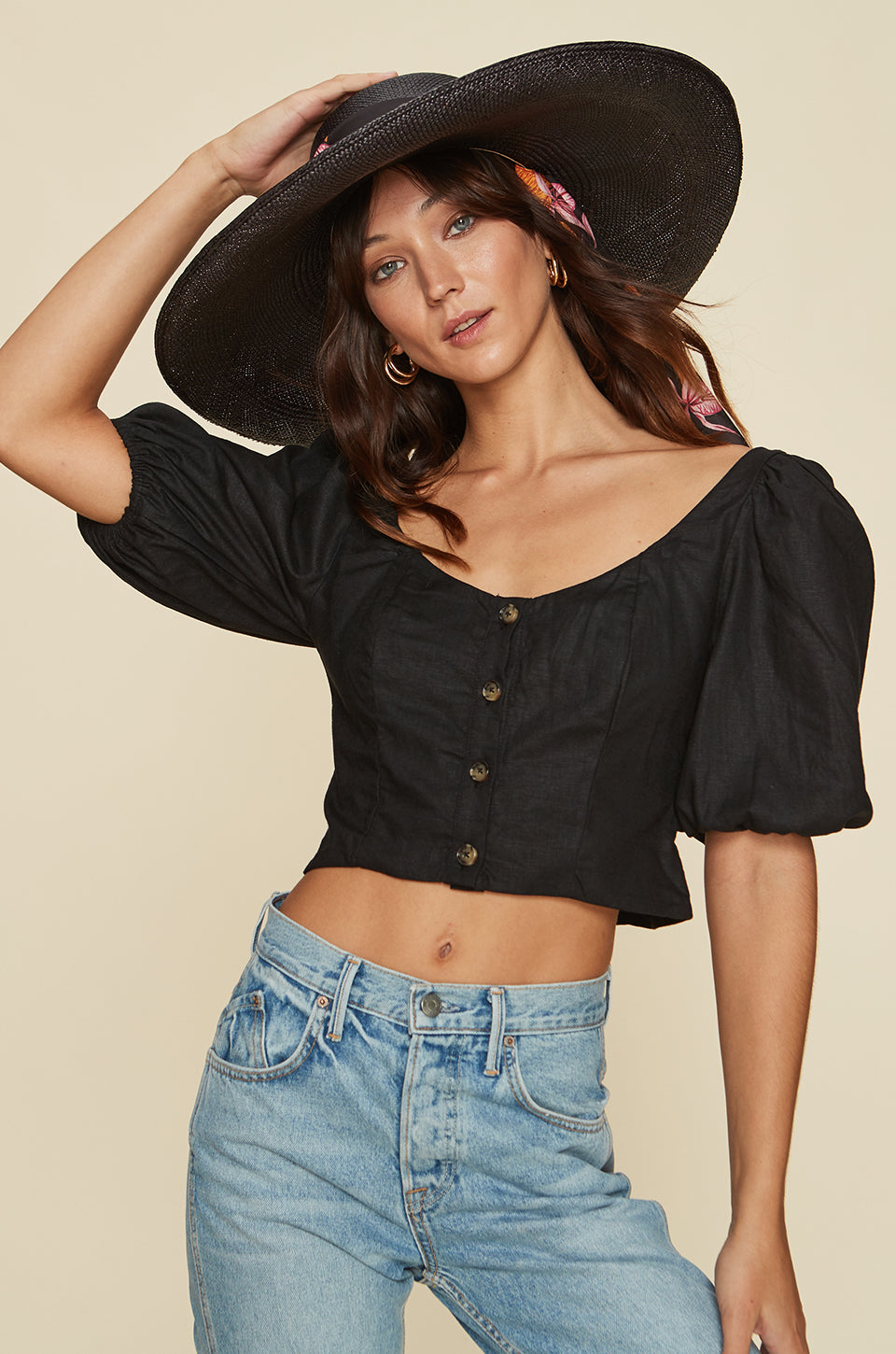 Button Up Top With Puff Sleeves