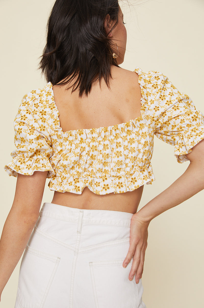 Cropped Peasant Top With Puff Sleeves