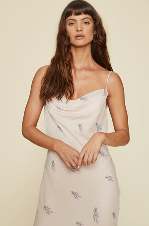 Embroidered Cowl Neck Dress With Slits